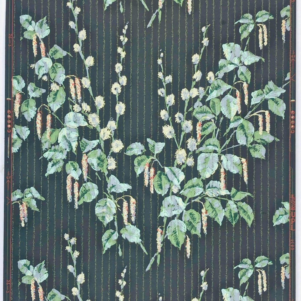 1920s vintage wallpaper flowers on black 4