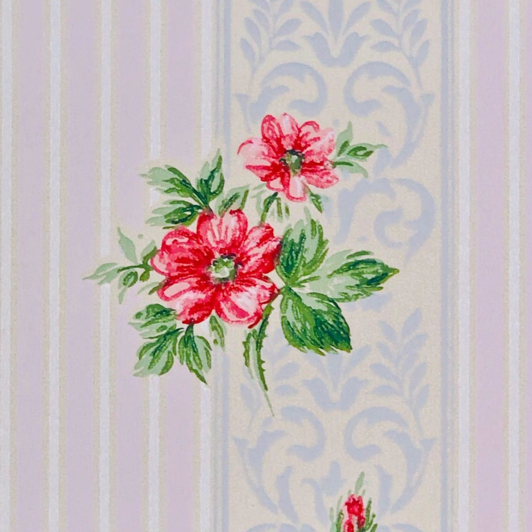 1930s floral wallpaper red roses 1