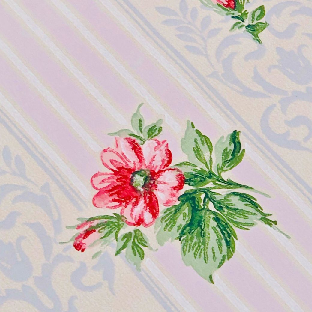 1930s floral wallpaper red roses 3