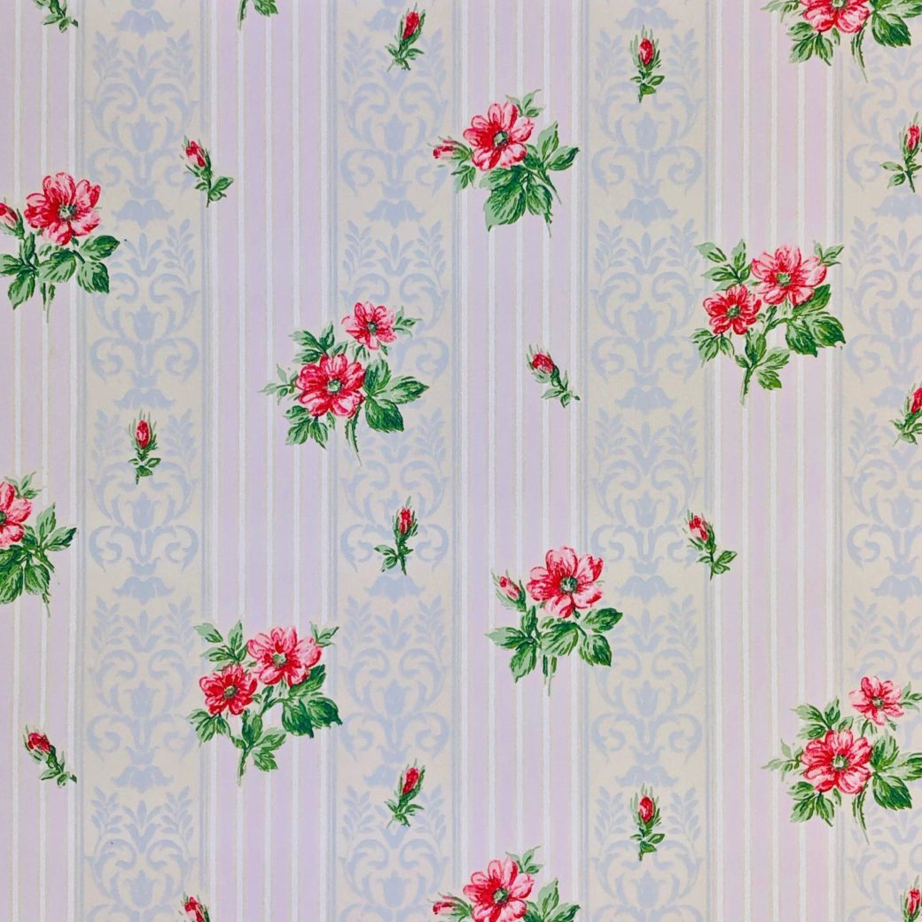 1930s floral wallpaper red roses 4