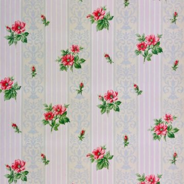 1930s floral wallpaper red roses 2