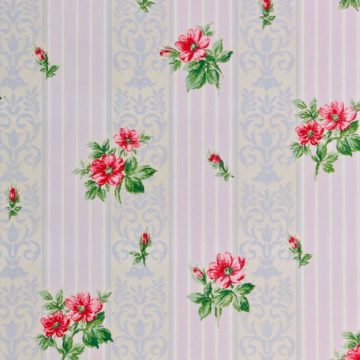 1930s floral wallpaper red roses