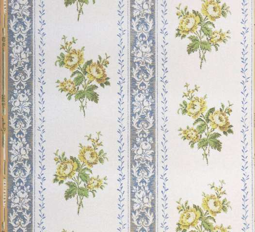 1930s stripe floral wallpaper