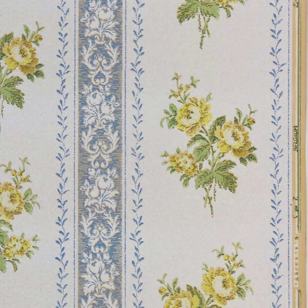 1930s stripe floral wallpaper 1
