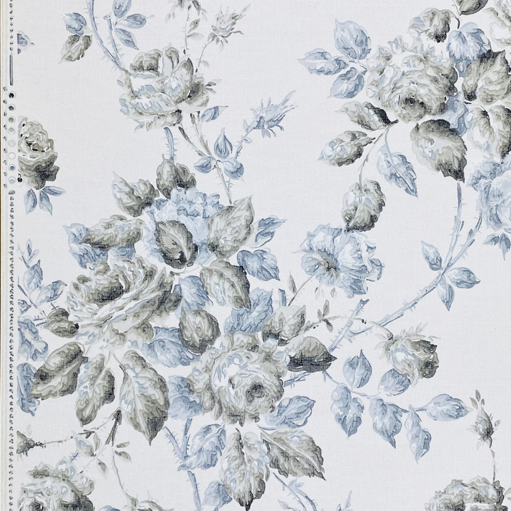 1940s Floral Wallpaper Blue and Black Flowers 4