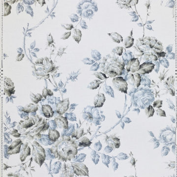 1940s Floral Wallpaper Blue and Black Flowers 1