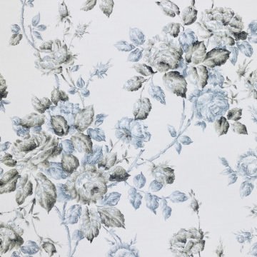 1940s Floral Wallpaper Blue and Black Flowers 2