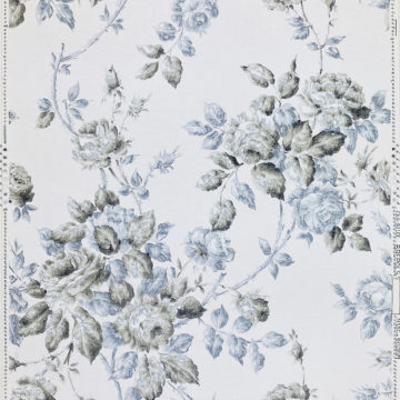 1940s Floral Wallpaper Blue and Black Flowers