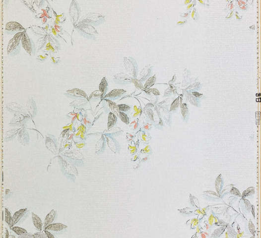 1940s Floral Wallpaper Blue Yellow Flowers