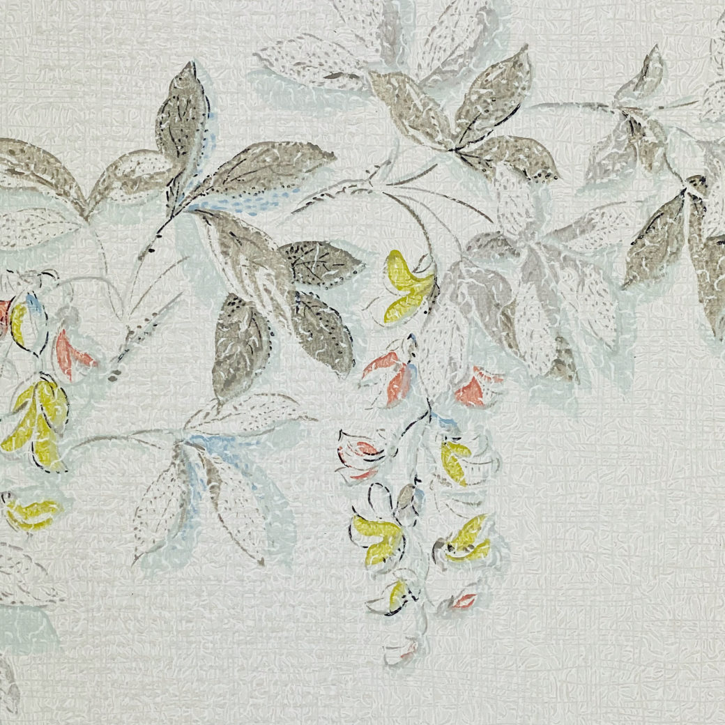 1940s Floral Wallpaper Blue Yellow Flowers 5