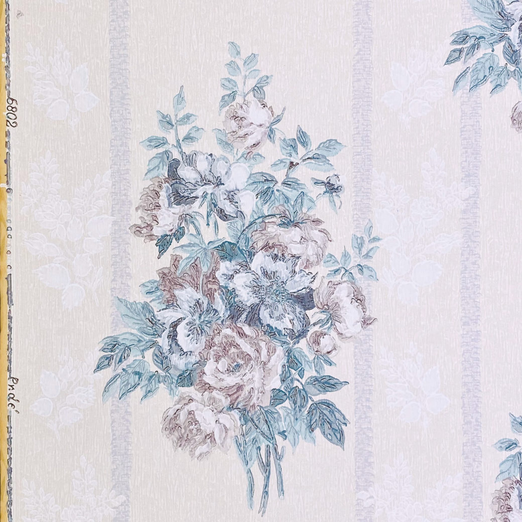 1940s Floral Wallpaper Purple and Blue 6