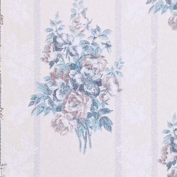 1940s Floral Wallpaper Purple and Blue 7