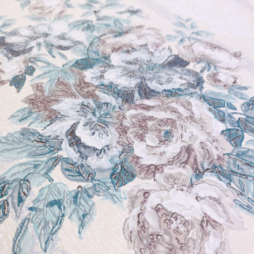 1940s Floral Wallpaper Purple and Blue 10