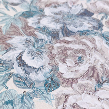 1940s Floral Wallpaper Purple and Blue 13