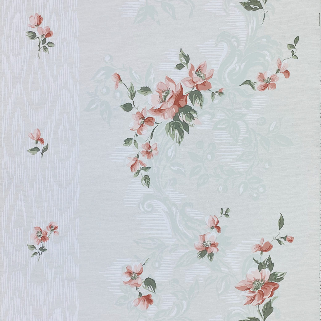 1940s Floral Wallpaper Red Roses 1
