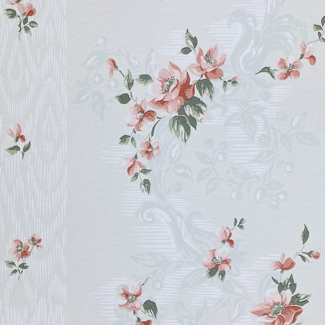 1940s Floral Wallpaper Red Roses 2