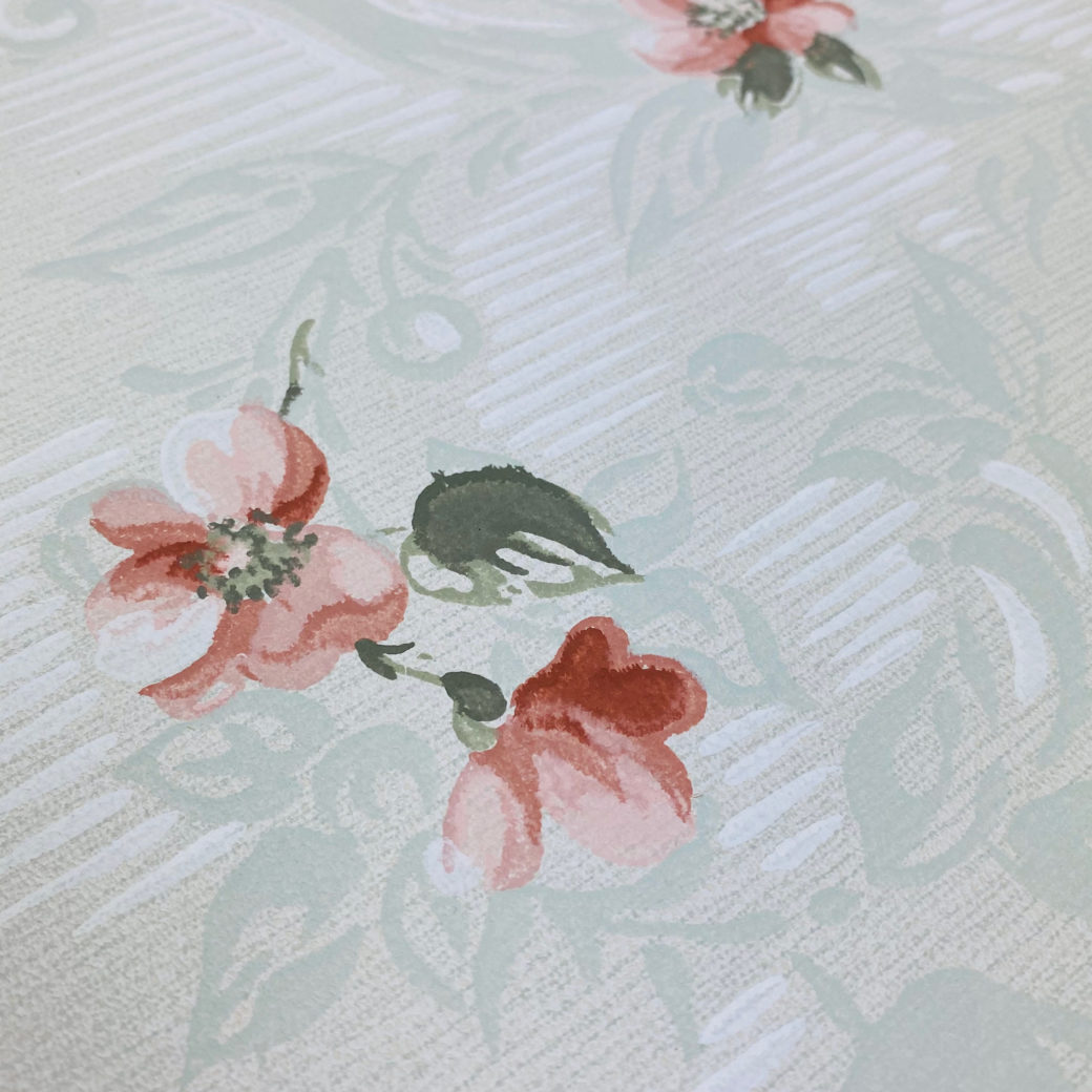 1940s Floral Wallpaper Red Roses 8