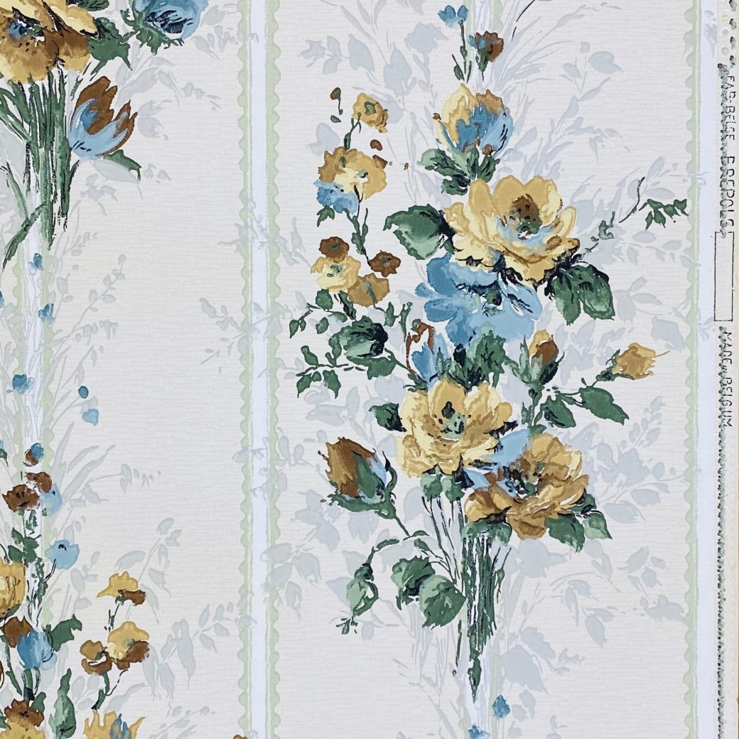 1940s Flower Wallpaper Blue Brown Green 3