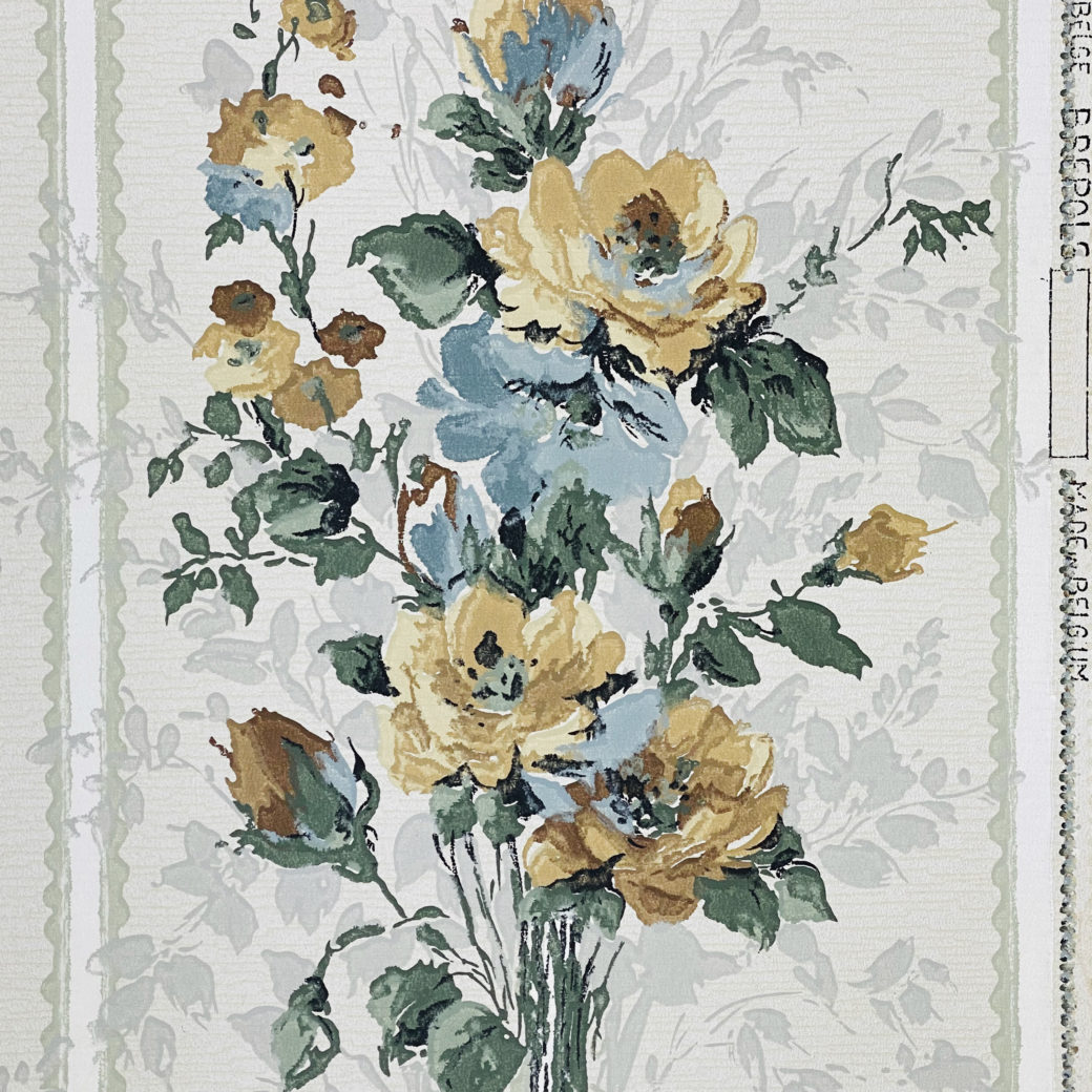 1940s Flower Wallpaper Blue Brown Green 4