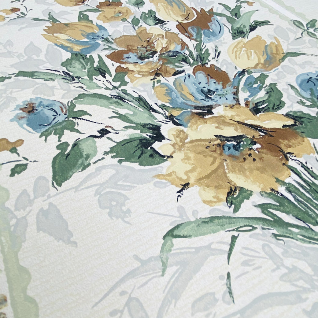 1940s Flower Wallpaper Blue Brown Green 8