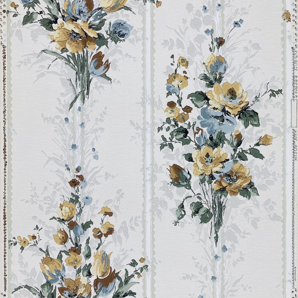 1940s Flower Wallpaper Blue Brown Green