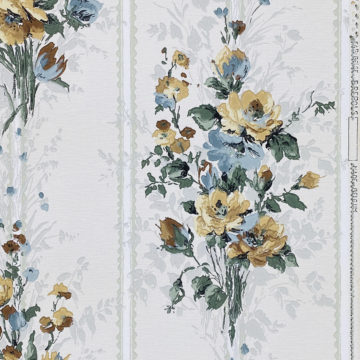 1940s Flower Wallpaper Blue Brown Green 2