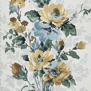 1940s Flower Wallpaper Blue Brown Green 5