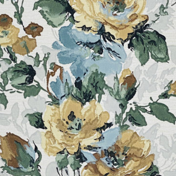 1940s Flower Wallpaper Blue Brown Green 6