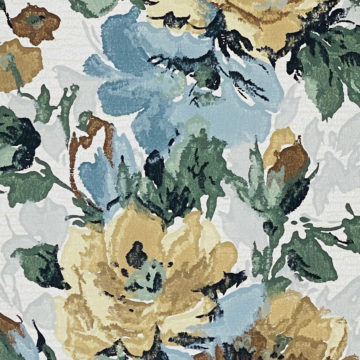 1940s Flower Wallpaper Blue Brown Green 7