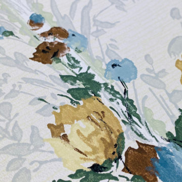 1940s Flower Wallpaper Blue Brown Green 11