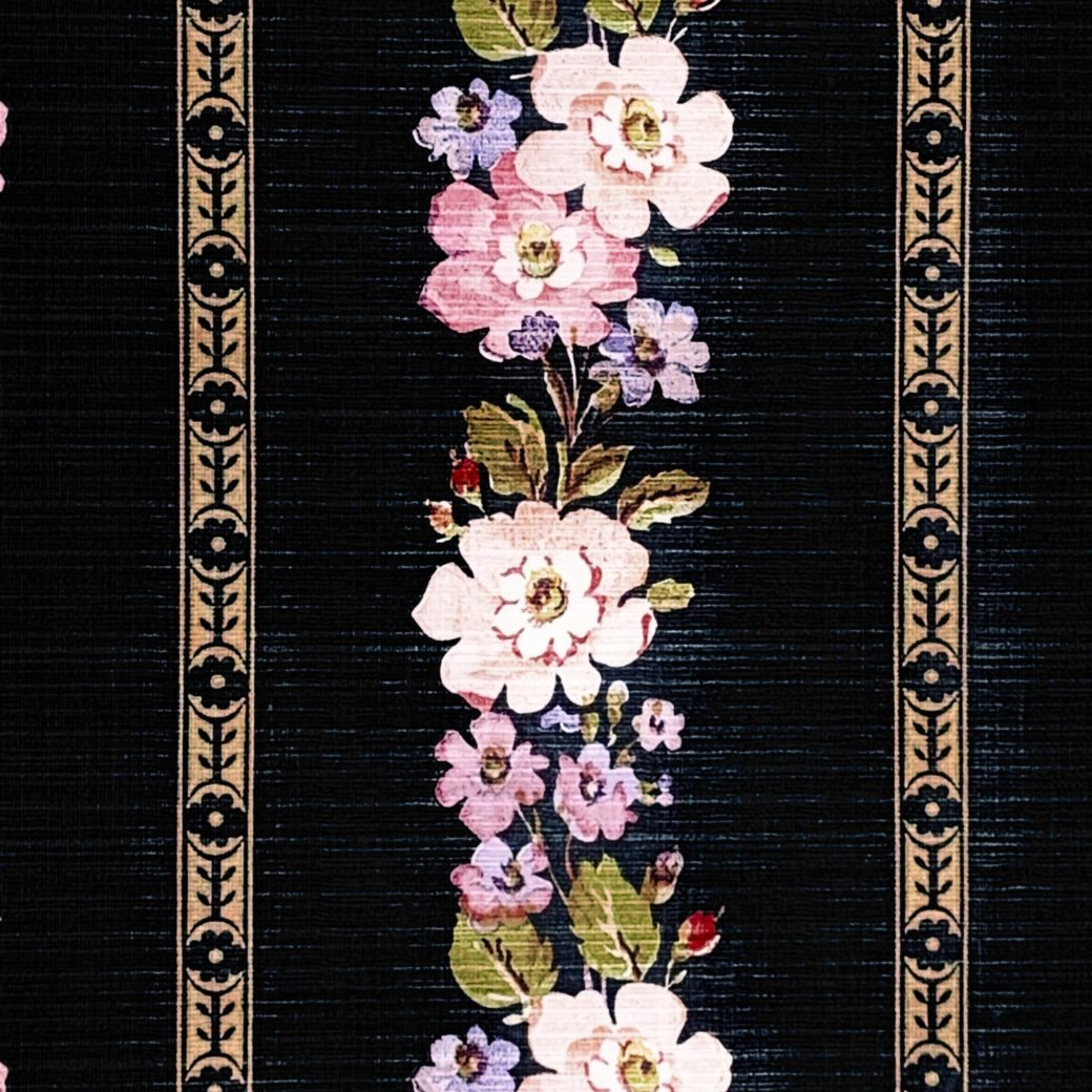 Black striped floral wallpaper 4