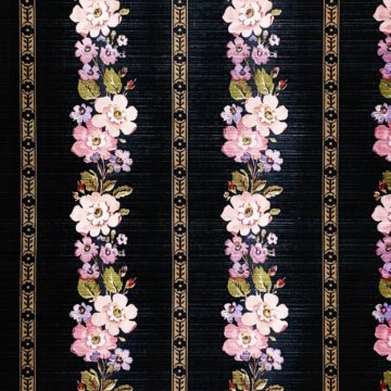 Black striped floral wallpaper 2