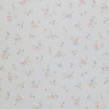 1950s Floral Striped Wallpaper 2