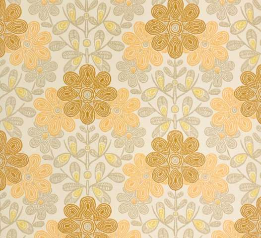 Vintage orange floral wallpaper
