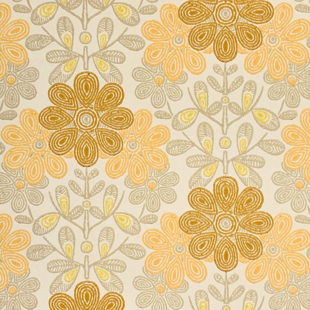 Vintage orange floral wallpaper 2