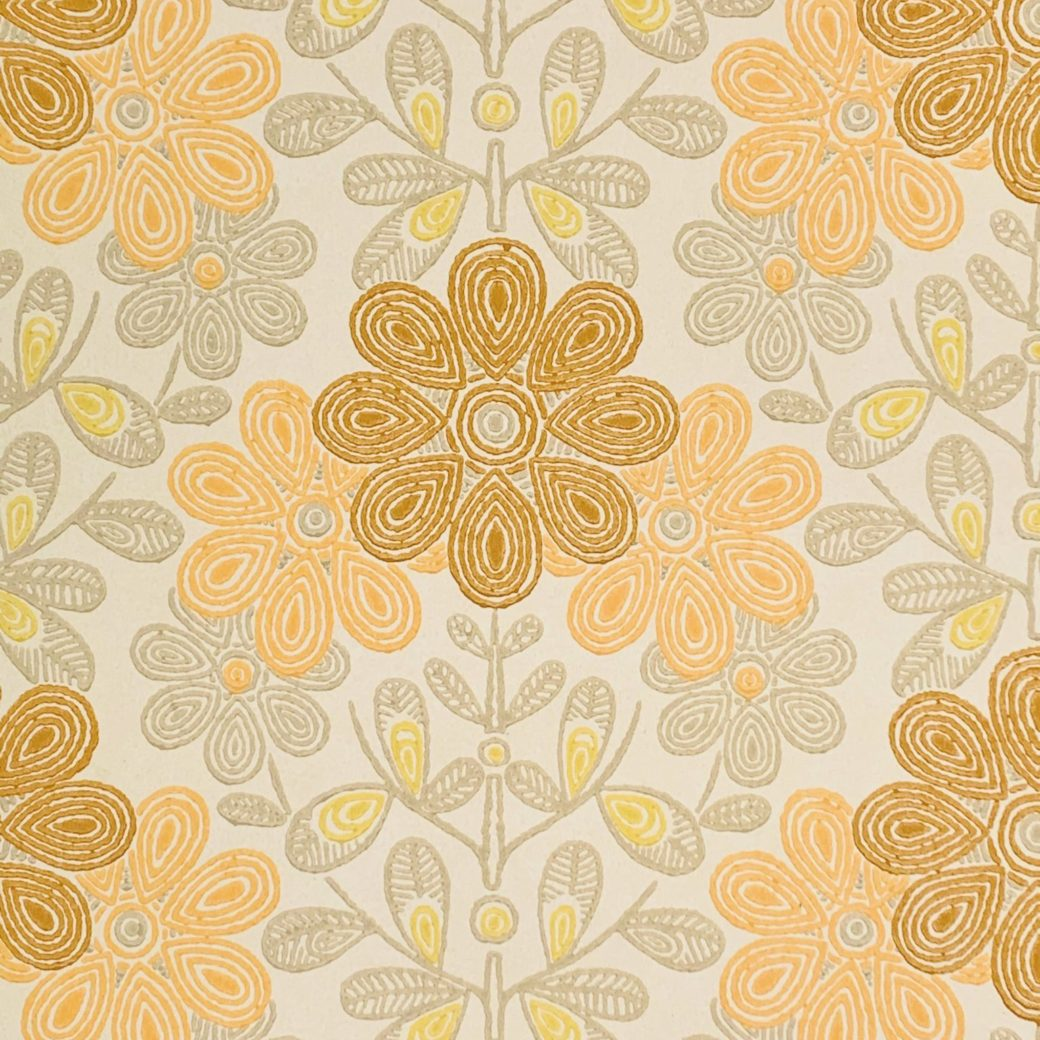 Vintage orange floral wallpaper 3