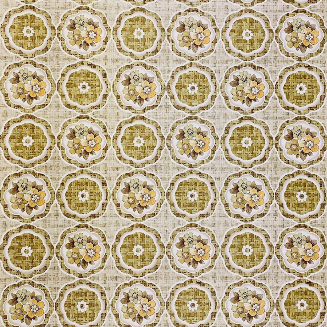 1960s Retro Floral Wallpaper Green and Brown 1