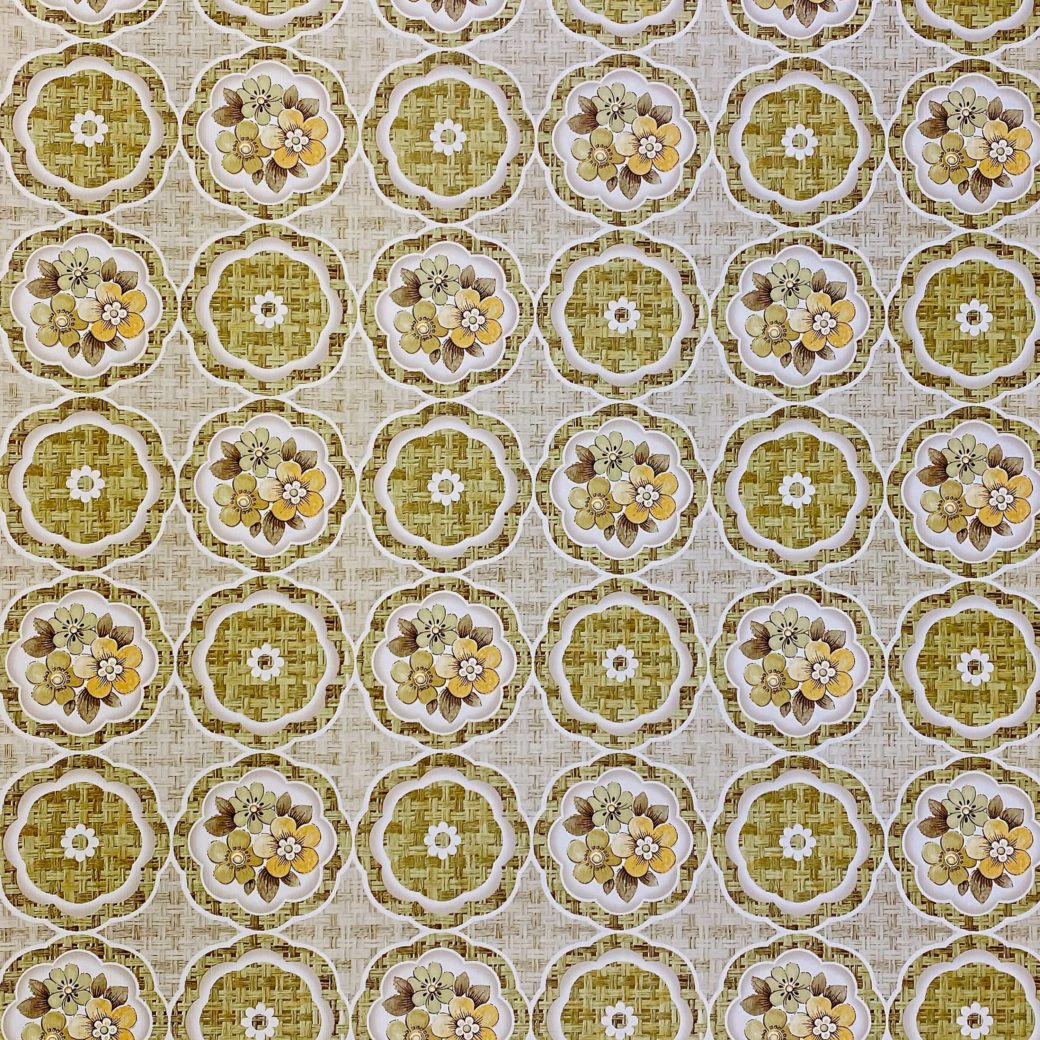 1960s Retro Floral Wallpaper Green and Brown 2