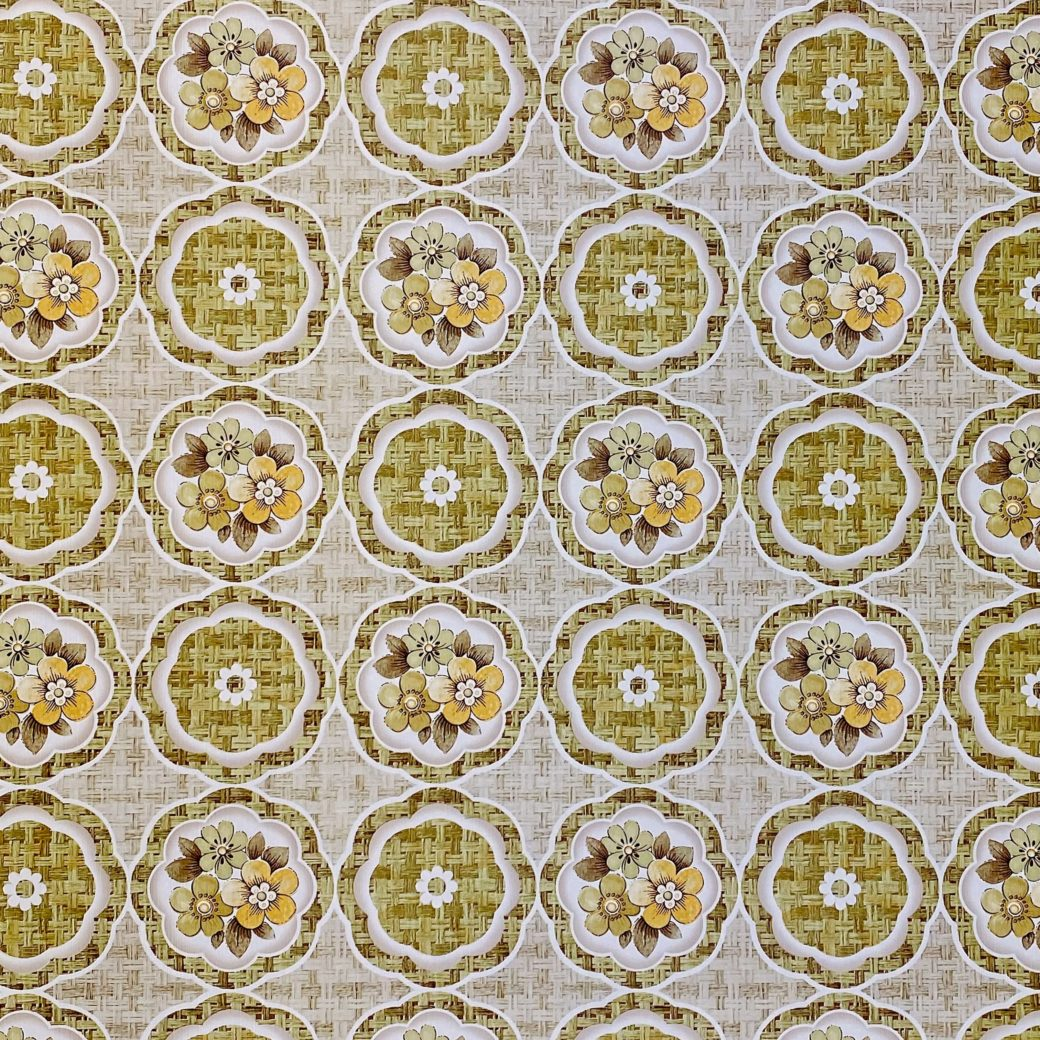 1960s Retro Floral Wallpaper Green and Brown 3