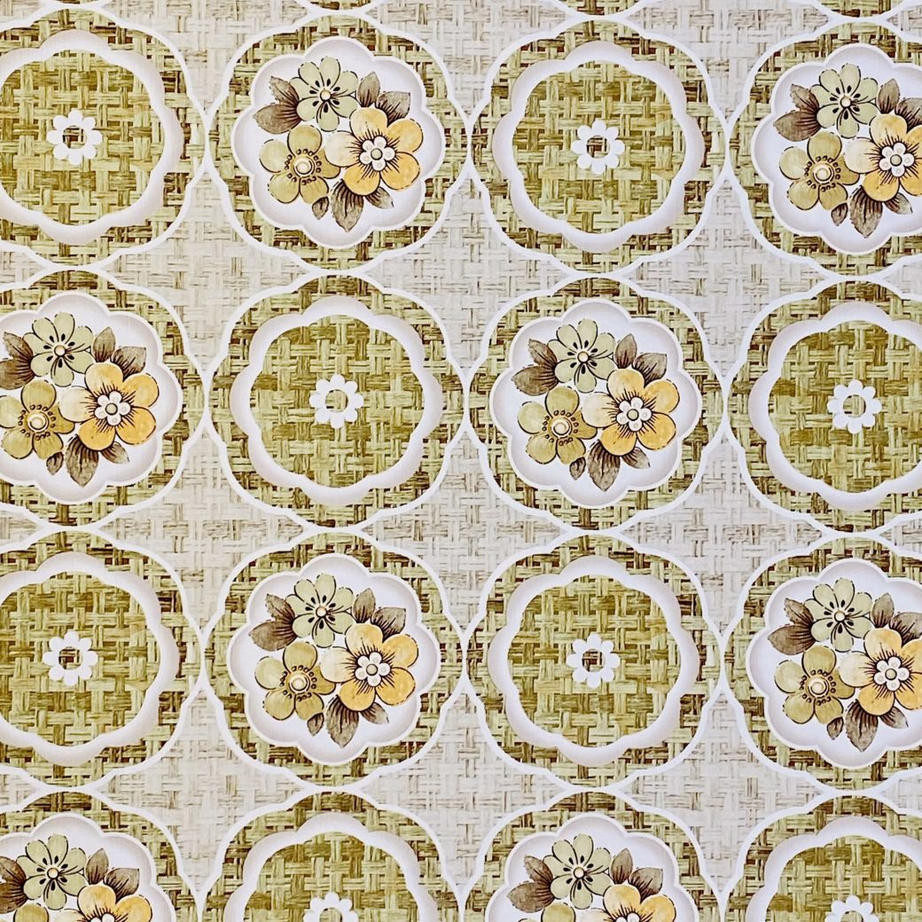 1960s Retro Floral Wallpaper Green and Brown 6