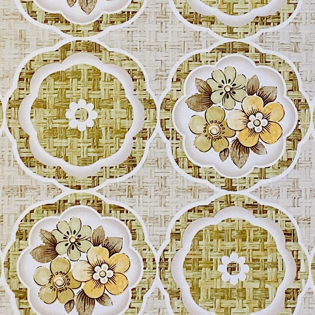 1960s Retro Floral Wallpaper Green and Brown 8