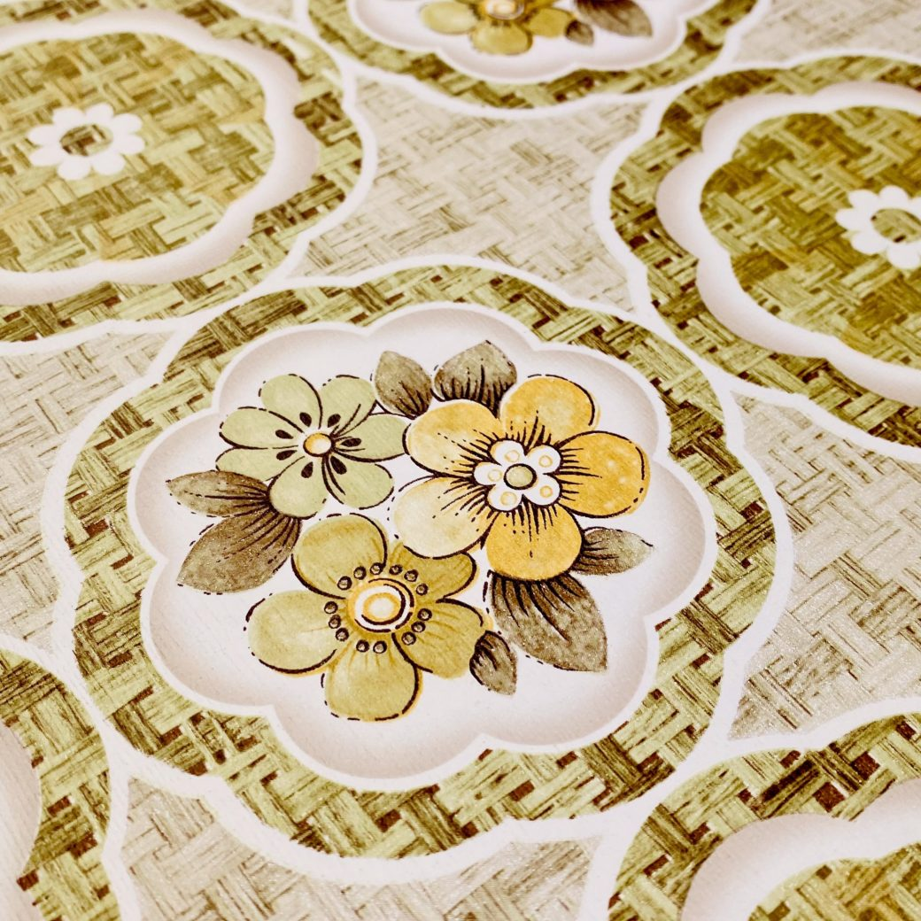1960s Retro Floral Wallpaper Green and Brown 12