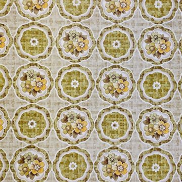 1960s Retro Floral Wallpaper Green and Brown 4