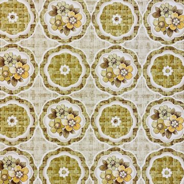 1960s Retro Floral Wallpaper Green and Brown 5