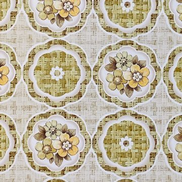 1960s Retro Floral Wallpaper Green and Brown 7