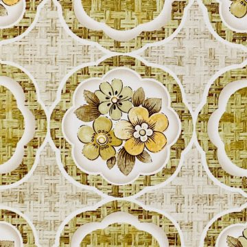 1960s Retro Floral Wallpaper Green and Brown 9