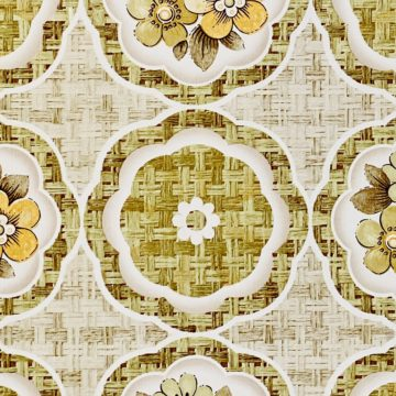1960s Retro Floral Wallpaper Green and Brown 10