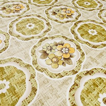 1960s Retro Floral Wallpaper Green and Brown 11