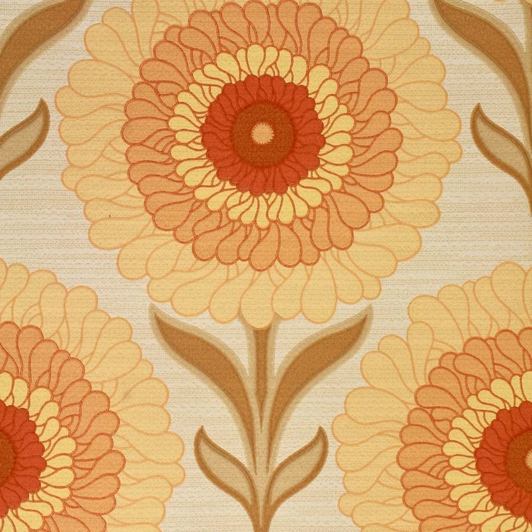 1970s bright floral wallpaper 1 2