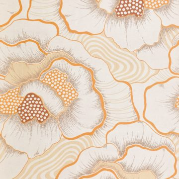 1970s Floral Wallpaper Orange 4
